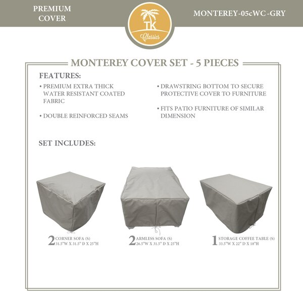 Monterey 5 Piece Water Resistant Patio Furniture Cover Set by TK Classics