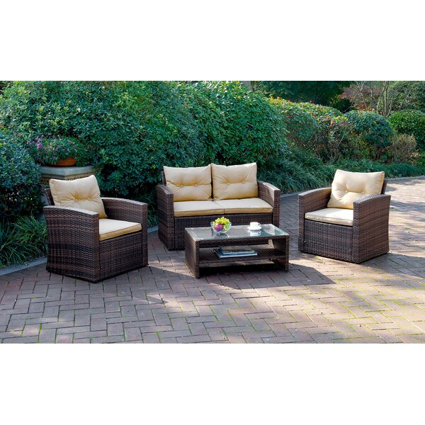 Shenk 4 Piece Sofa Set with Cushions by Highland Dunes