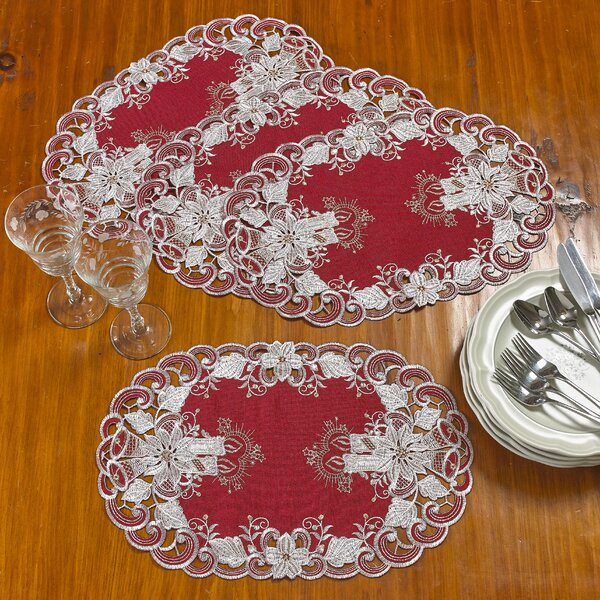 Delsur Candles Bells and Poinsettia Handmade Embroidered Cutwork 12 Placemat (Set of 4) by The Holiday Aisle