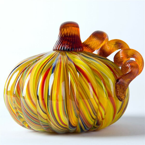 Handmade Striped Glass Pumpkin Sculpture by The Holiday Aisle