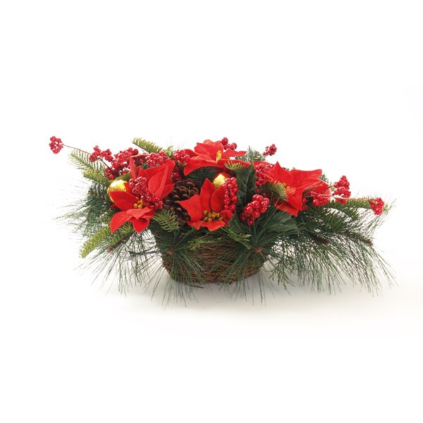 Mum Pumpkin Poinsettia Centerpiece in Basket by The Holiday Aisle