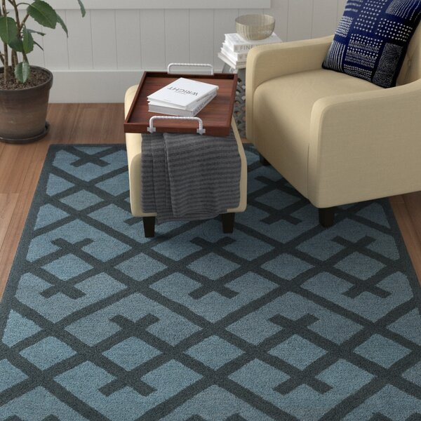 Wycoff Hand-Tufted Navy/Light Blue Area Rug by Winston Porter