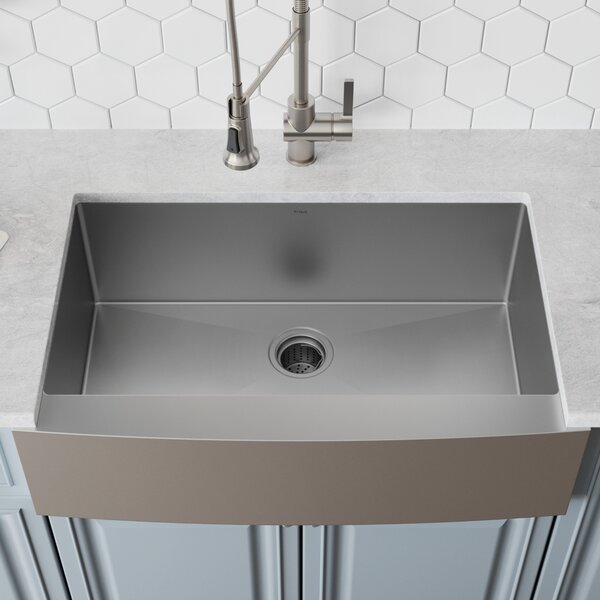 30 L x 21 W Farmhouse Kitchen Sink with Drain Assembly by Kraus