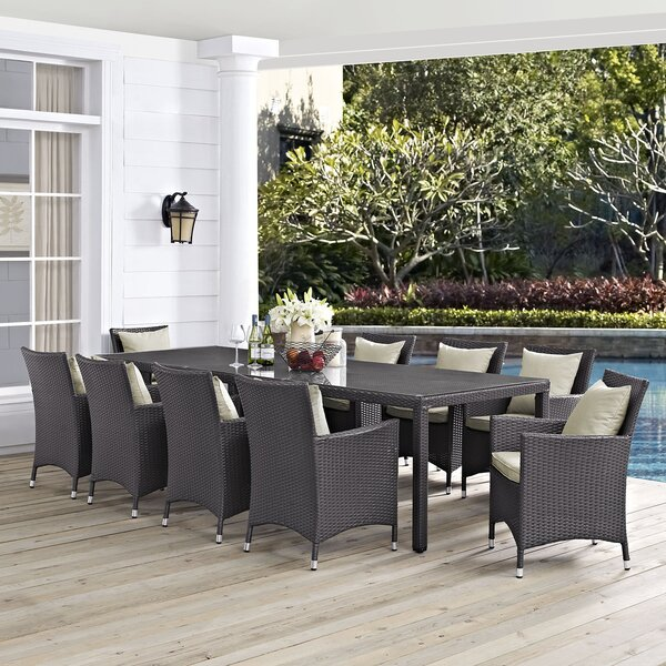 Brentwood Outdoor Patio 11 Piece Dining Set with Cushions by Sol 72 Outdoor