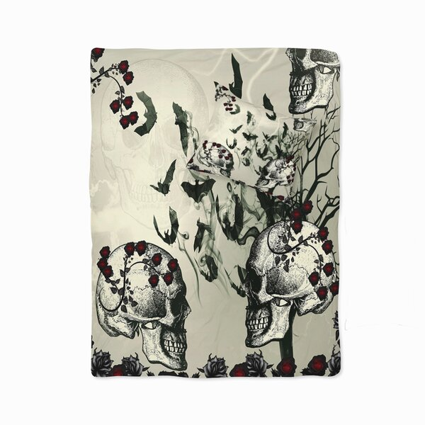 Niel Gothic Skulls and Bats Duvet Cover Set