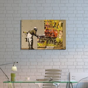 'Poster Man' by Banksy Painting Print on Wrapped Canvas by Pingo World