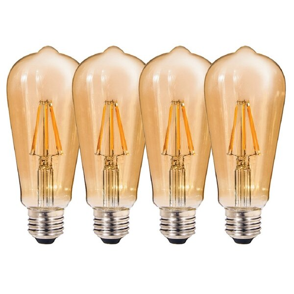 7W E26 LED Edison Light Bulb Amber (Set of 2) by Kauri