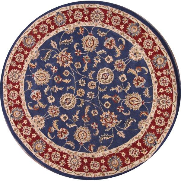 Peterlee Agra Tabriz Oriental Hand-Tufted Wool Red/Black/Blue Area Rug by Bloomsbury Market