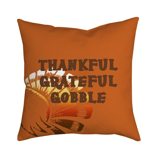 Holiday Treasures Thankful Gobble Textual Throw Pillow by Positively Home