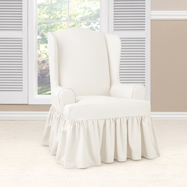 Essential Twill Ruffled T-Cushion Wingback Slipcover by Sure Fit