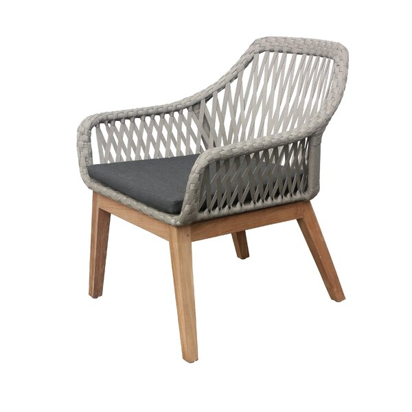Alena Teak Patio Chair with Cushion by Bungalow Rose