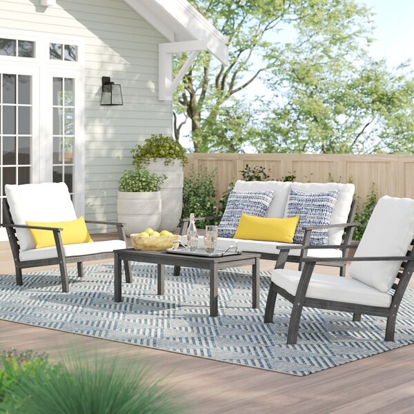 Manchester Outdoor Patio Hand Scraped Wood Sofa Set with Cushions by Sol 72 Outdoor