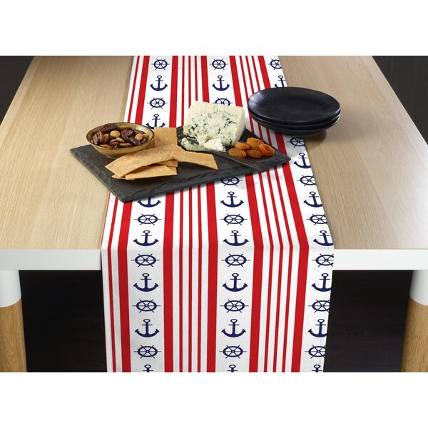 Espitia Nautical Stripe Anchors and Wheels Milliken Signature Table Runner by Breakwater Bay