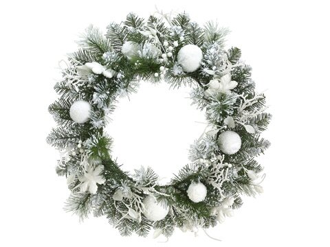24 Artificial Snowy Flocked Christmas Wreath by Tori Home