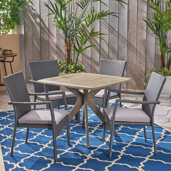 Gaither Outdoor 5 Piece Dining Set with Cushions by Wrought Studio