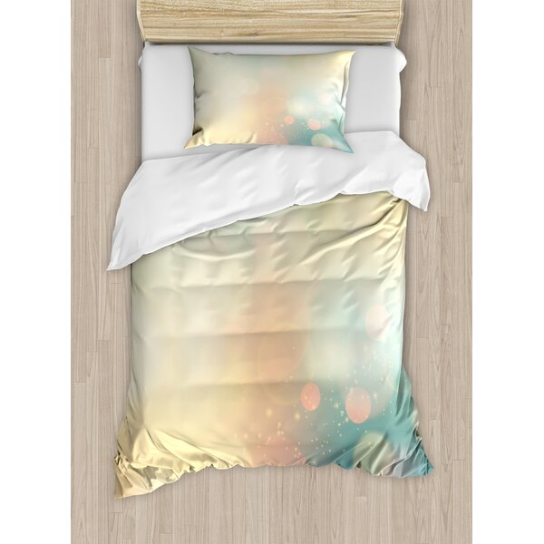 Abstract Under Sea Ocean Sea Inspired Image with Sunbeams Like Details Print Duvet Set by Ambesonne
