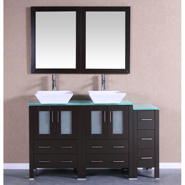 Quintana 60 Double Bathroom Vanity Set with Mirror by Bosconi