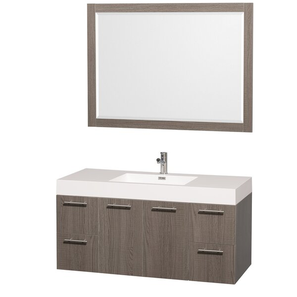 Amare 47 Single Gray Oak Bathroom Vanity Set with Mirror by Wyndham Collection