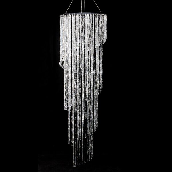 Binns Iridescent Diamond Cut Bead Spiral Unique / Statement Tiered Chandelier With Crystal Accents By House Of Hampton