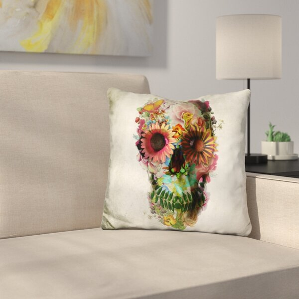 Skull Square Throw Pillow by East Urban Home