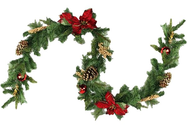 Pine with Balls Poinsettias Pine Cones and Berries Christmas Garland with Unlit by Northlight Seasonal
