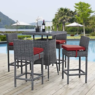 Keiran 5 Piece Sunbrella Bar Height Dining Set with Cushions By Brayden Studio
