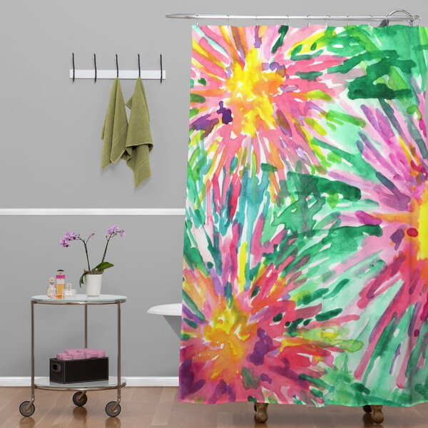 Amick Confetti Floral Shower Curtain by Brayden Studio