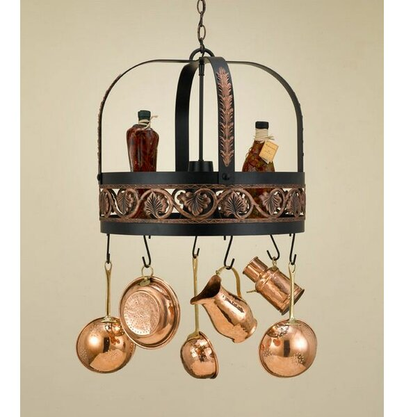 Leaf Hanging Pot Rack with Light by Hi-Lite