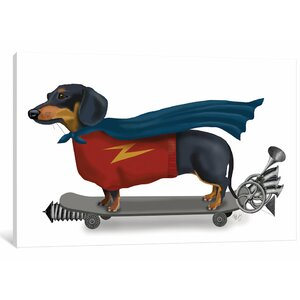 'Dachshund on Skateboard II' Graphic Art Print on Canvas by East Urban Home