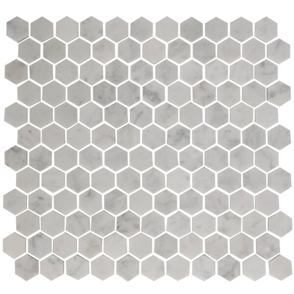 Hexagon Offset 1 x 1 Carrara Marble Mosaic Tile in White by Susan Jablon