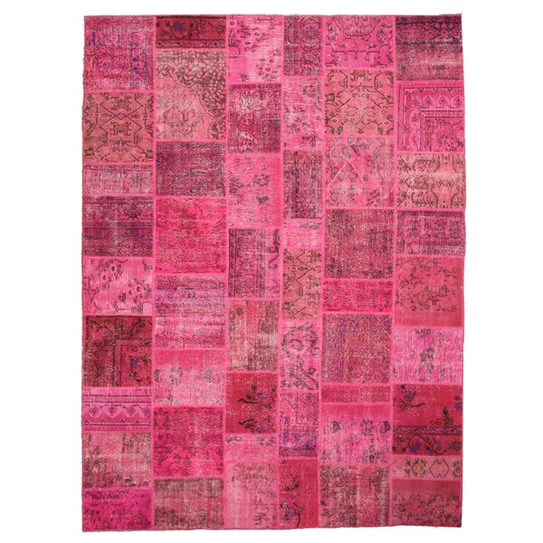 Hand-Knotted Pink Area Rug by Meridian Rugmakers