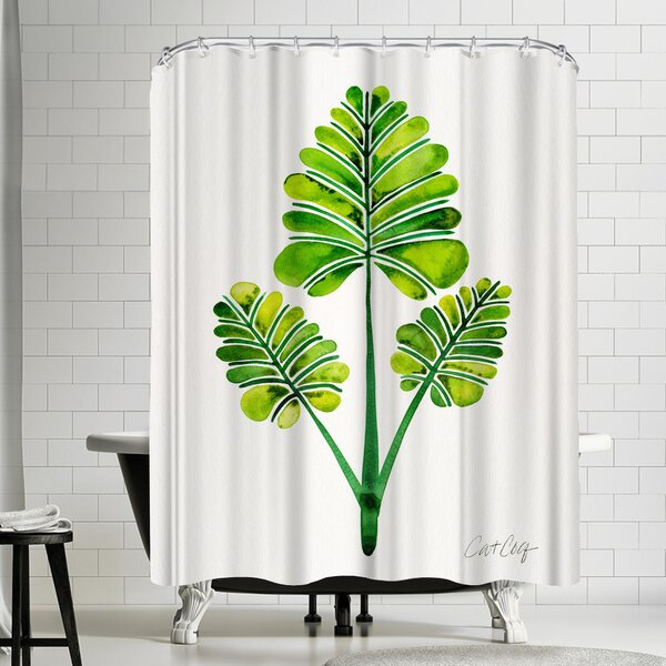 Palm Leaf Trifecta Shower Curtain by East Urban Home
