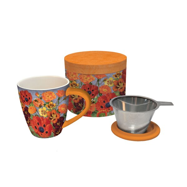Pretty Poppies Tea Infuser Mug Set by Lang