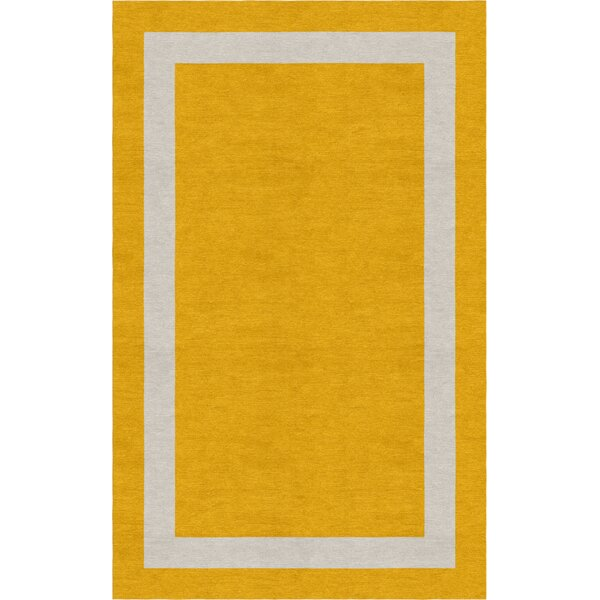 Winans Border Hand-Tufted Wool Dark Gold/Silver Area Rug by Red Barrel Studio