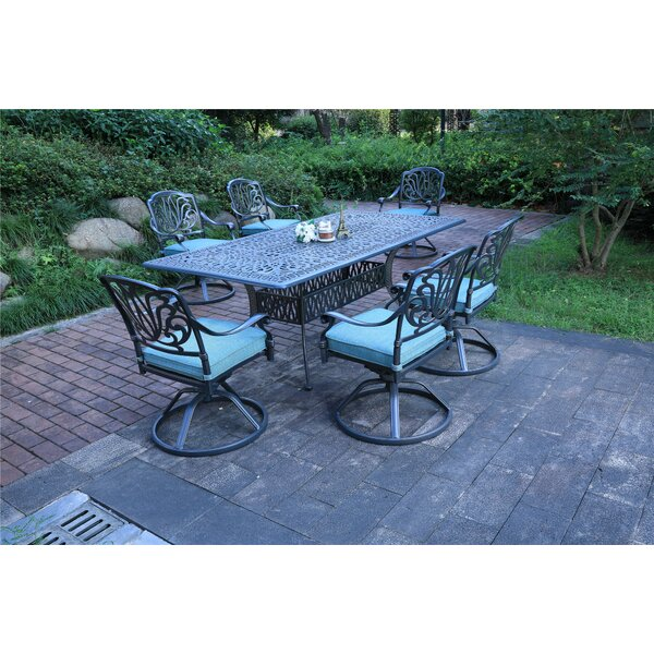 Balzer Aluminum 7 Piece Dining Set with  Cushions by Canora Grey Canora Grey