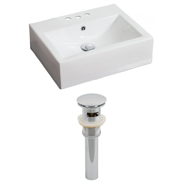 Ceramic 21 Wall Mount Bathroom Sink with Overflow by American Imaginations