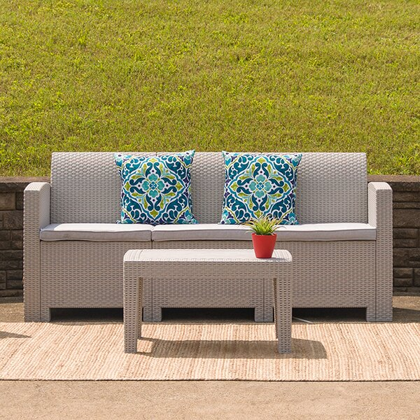 Wamac 2 Piece Rattan Sofa Seating Group with Cushions by Ebern Designs