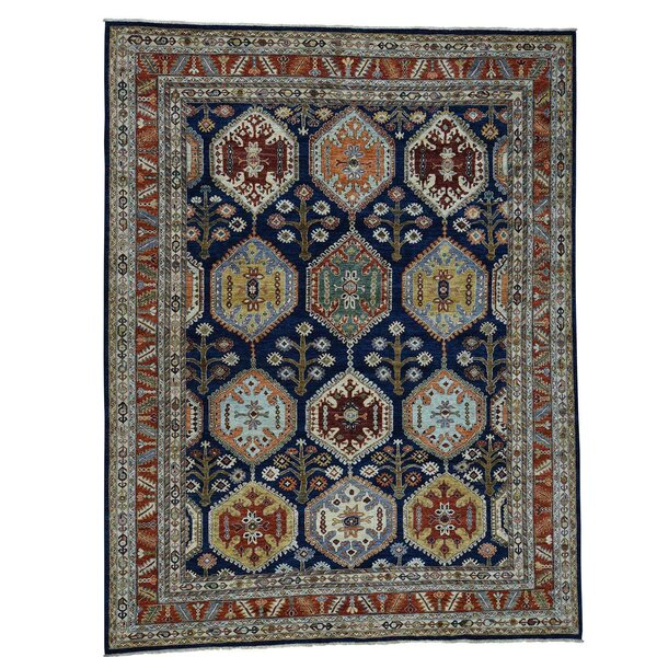 One-of-a-Kind Salzman Peshawar Hand-Knotted Blue Area Rug by Astoria Grand