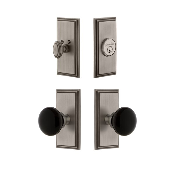 Carre Plate Single Cylinder Knob Combo Pack with Coventry Knob and matching Deadbolt by Grandeur