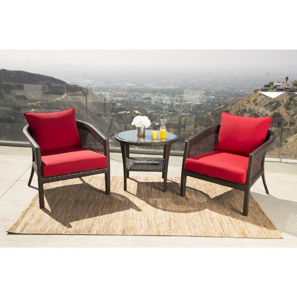 Fincham 3 Piece Sunbrella Conversation Set with Cushions by August Grove