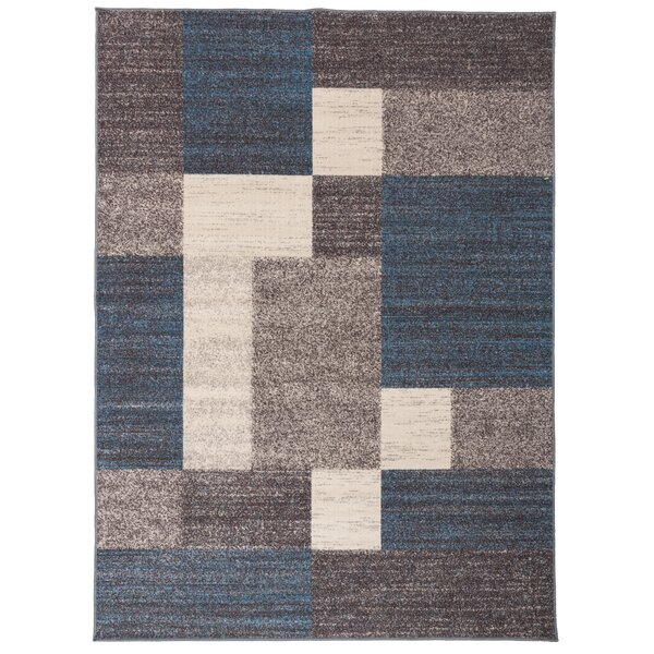 Eamon Boxes Design Non-Slip Blue/Brown Area Rug by Ebern Designs