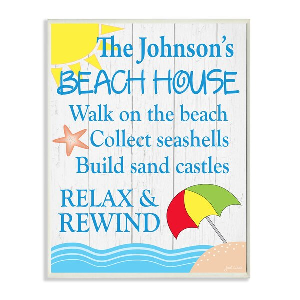 Personalized Beach House Sand and Umbrella by Janet White Graphic Art Plaque by Stupell Industries
