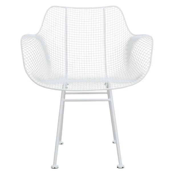 Southall Curvy Metal Open Weave Armchair by Wrought Studio