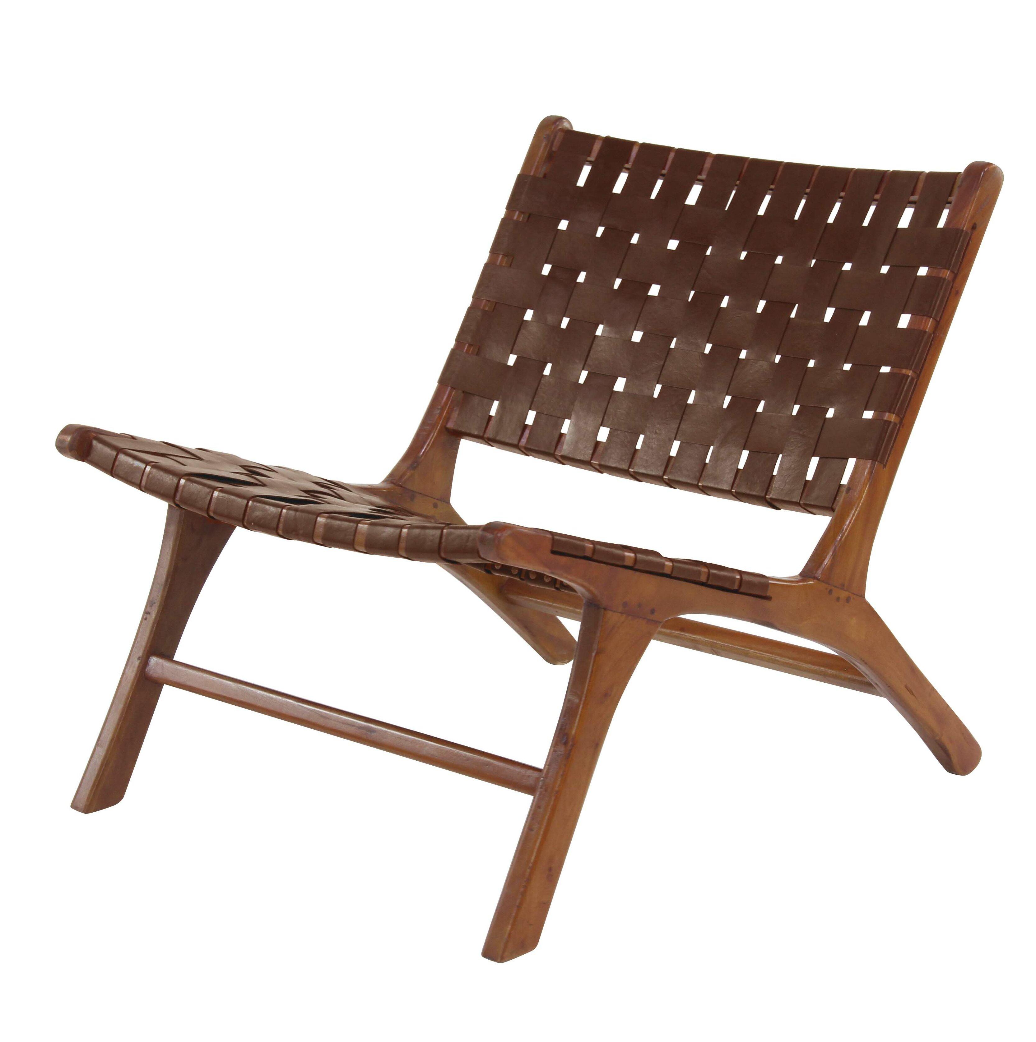 Elegant George Oliver Veatch Rustic Mahogany Lounge Chair | Wayfair