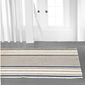 Hand Woven Cotton Blue/Ivory Area Rug by Dash and Albert Rugs