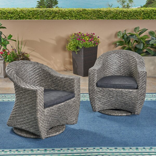 Gaviota Swivel Patio Chairs with Cushions (Set of 2) by Wrought Studio