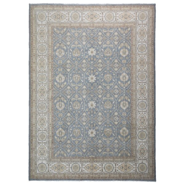 One-of-a-Kind Baron Oriental Hand-Knotted Wool Blue/Beige Area Rug by Isabelline