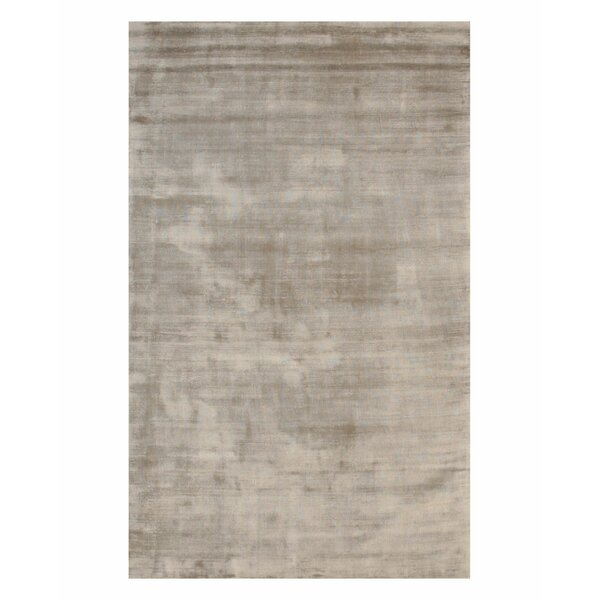 Gerow Viscose Solid Random Hand-Woven Silver Area Rug by Everly Quinn