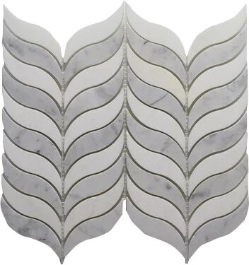 Thassos Feather P. and Carrara P. Wall 10.5 x 12 Natural Stone Mosaic Tile in White by Seven Seas