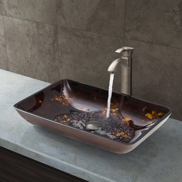 Fusion Glass Rectangular Vessel Bathroom Sink with Faucet by VIGO